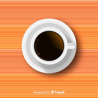 Vista superior da xícara de café com design realista
