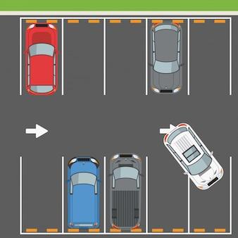 Vista superior da zona de estacionamento