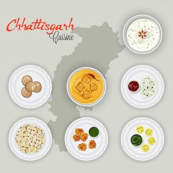 Vista superior das cozinhas de chhattisgarh no fundo do mapa do estado.