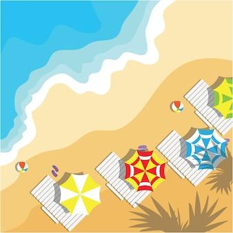 Vista superior das férias de verão com itens de praia e onda