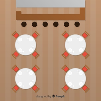 Vista superior das mesas de restaurante vazias com design plano