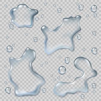 Vista superior das poças. respingos de água em ambiente líquido poças molhadas modelos de vetor realistas. poça de gotas de água, ilustração de um líquido de superfície lisa