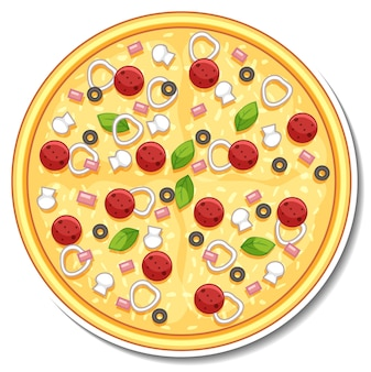 Vista superior de adesivo de pizza italiana em fundo branco