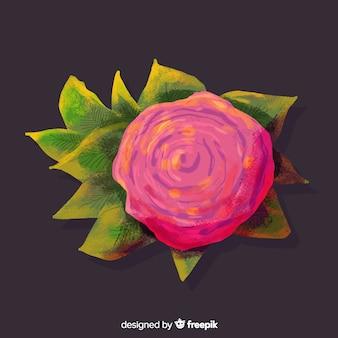 Vista superior de aquarela flor rosa coral