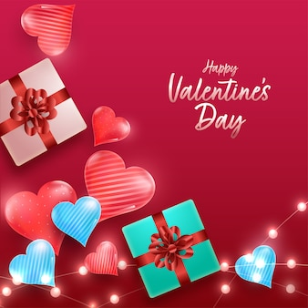Vista superior de caixas de presente 3d com corações brilhantes e guirlandas decoradas Vetor Premium