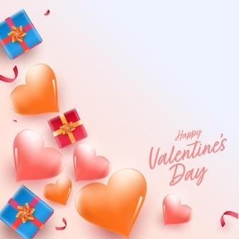 Vista superior de caixas de presente com fundo decorado de corações brilhantes para o conceito de feliz dia dos namorados.