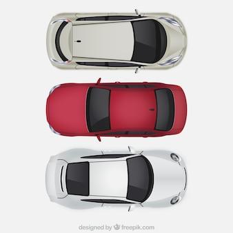 Vista superior de carros realistas