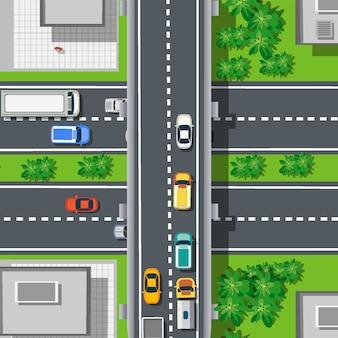 Vista superior de cima na rodovia rodovia