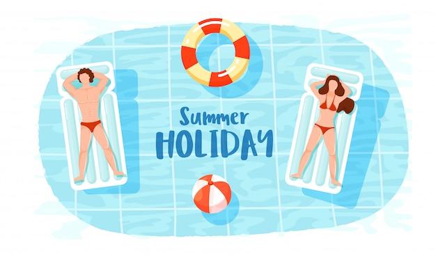 Vista superior, de, homem mulher, relaxante, ligado, cama nadando, com, lifesaver