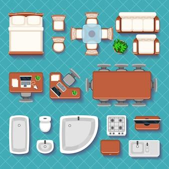 Vista superior de ícones planos interiores