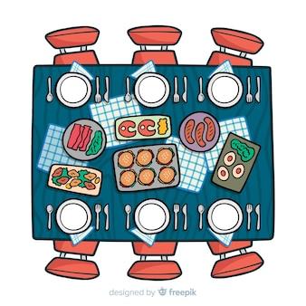 Vista superior, de, mão, desenhado, restaurante, tabela