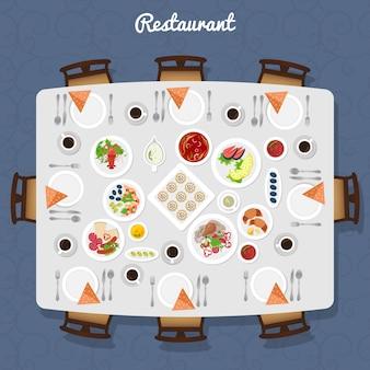 Vista superior de mesa de restaurante