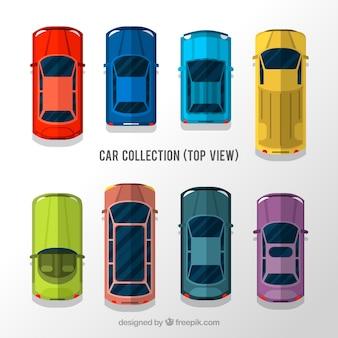 Vista superior de oito carros planos