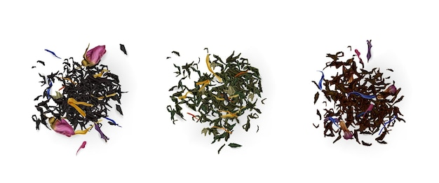 Vista superior de pilhas de chá, variedade de folhas secas e flores isoladas em branco