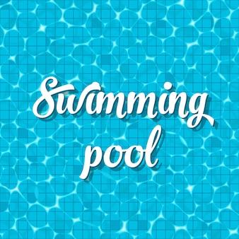Vista superior de piscina com fundo de reflexão
