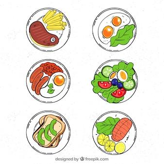 Vista superior de pratos de comida de mão desenhada