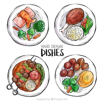 Vista superior de pratos de comida em aquarela