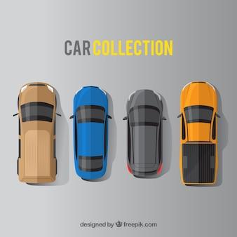 Vista superior de quatro carros planos