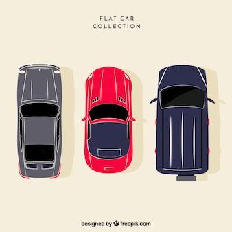Vista superior de três carros planos