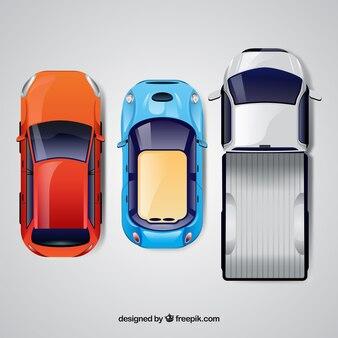 Vista superior de três carros realistas