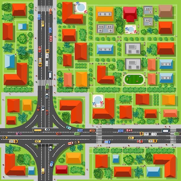 Vista superior, de, um, junção rodovia