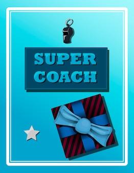 Vista superior de um plano de fundo com equipamentos esportivos etiqueta super treinador cartão de felicitações para fãs de esportes