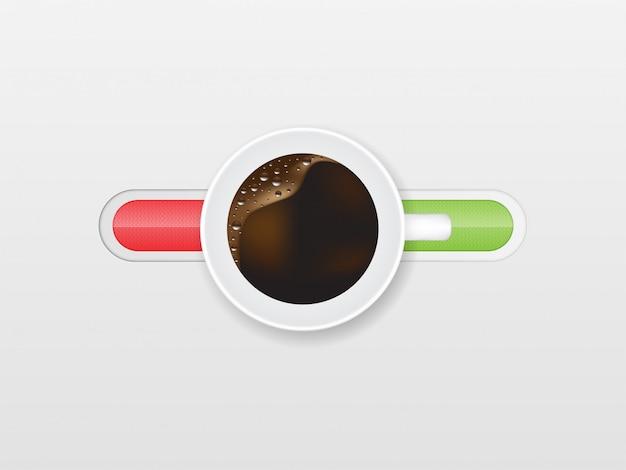 Vista superior, de, um, xícara café, e, desligado, switcher