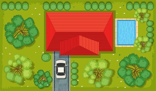 Vista superior de uma casa com área de jardim