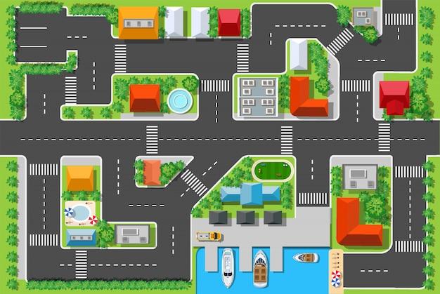 Vista superior de uma estrada na cidade com casas