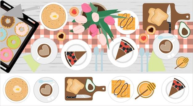 Vista superior de uma mesa com almoço ou café da manhã ilustração em vetor de uma mesa de jantar design plano