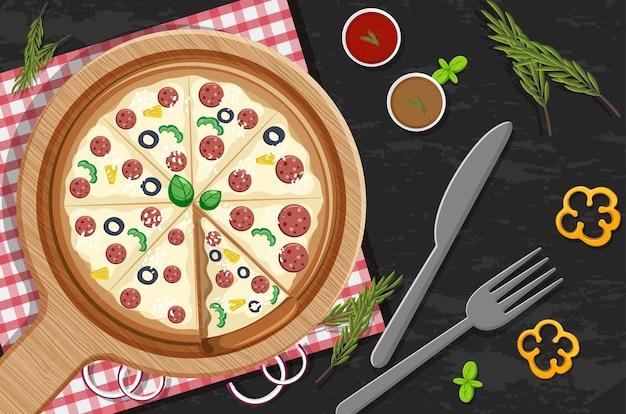 Vista superior de uma pizza inteira com cobertura de calabresa no fundo da mesa