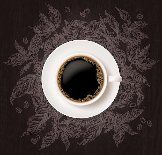 Vista superior de uma xícara de café com esboço de galhos de árvores de café no fundo do quadro-negro