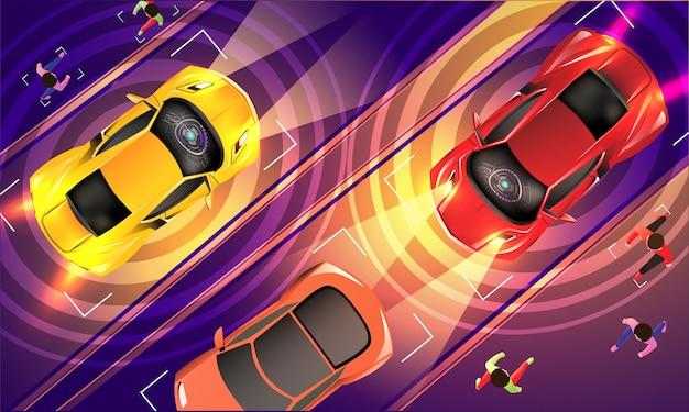 Vista superior de veículos autônomos baseados na tecnologia futurista.