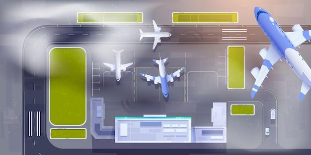 Vista superior do aeroporto ilustrada
