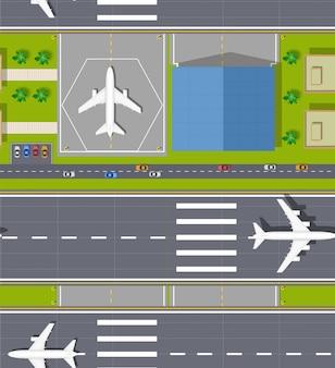 Vista superior do aeroporto sem emenda