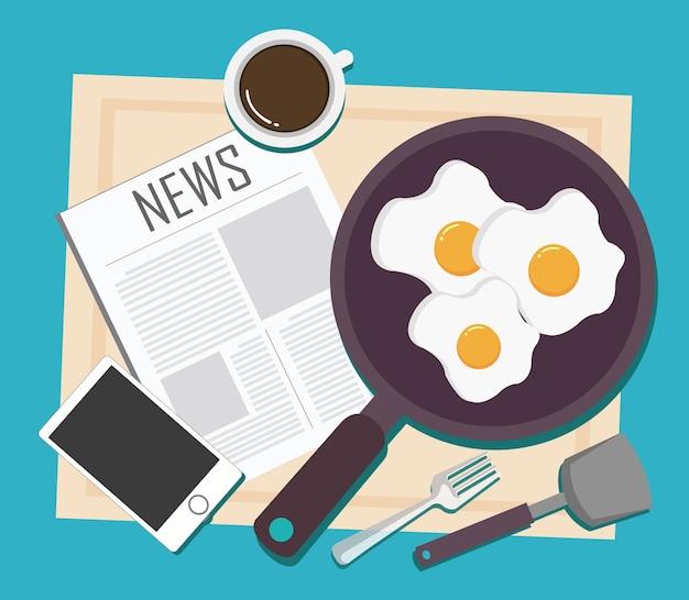 Vista superior do café da manhã com uma xícara de café notícias sobre ovo frito e smartphone no design plano de mesa