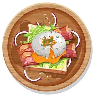 Vista superior do café da manhã em um prato em estilo cartoon isolado