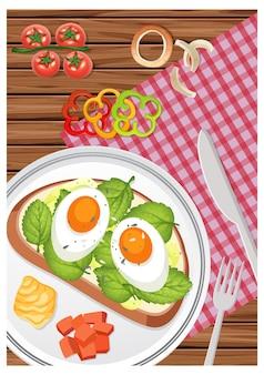 Vista superior do café da manhã em um prato sobre a mesa