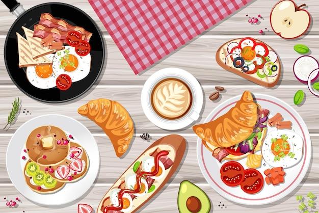 Vista superior do café da manhã posto na mesa