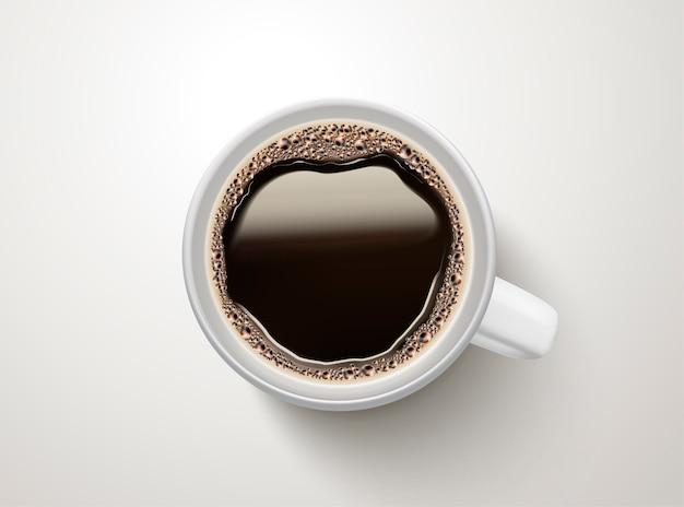 Vista superior do café preto, elemento relacionado à ilustração do café