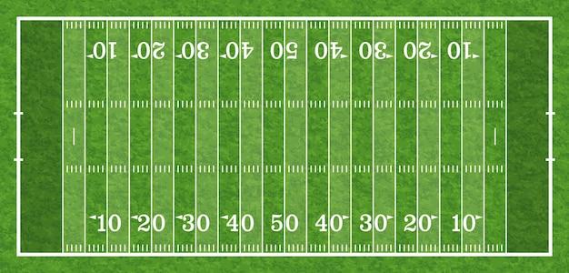 Vista superior do campo de futebol americano com linha e textura de grama realista