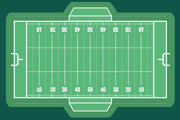Vista superior do campo de futebol americano