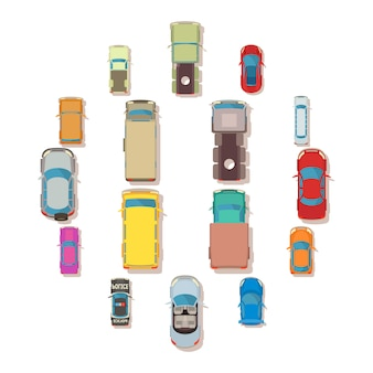Vista superior do carro acima sobre o conjunto de ícones, estilo simples
