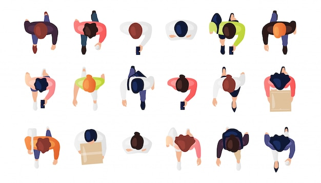 Vista superior do conjunto de pessoas isolado em um fundo branco. homem e mulher. vista de cima. personagens masculinas e femininas. projeto simples dos desenhos animados plana. ilustração realista.