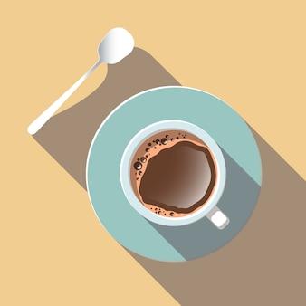 Vista superior do copo de café no projeto liso do vetor.