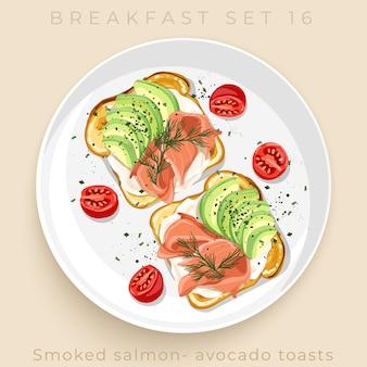 Vista superior do delicioso conjunto de pequeno-almoço isolado em fundo bege: ilustração de stock