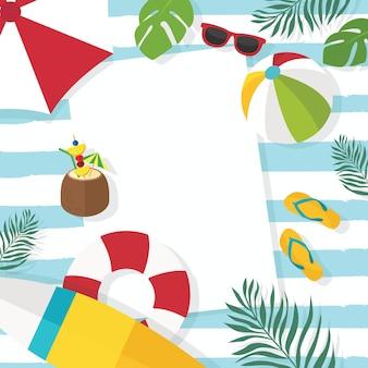 Vista superior do design plano de férias de verão com fundo copyspace