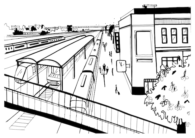 Vista superior do esboço monocromático da estação ferroviária, plataformas com passageiros. mão-extraídas ilustração vetorial.