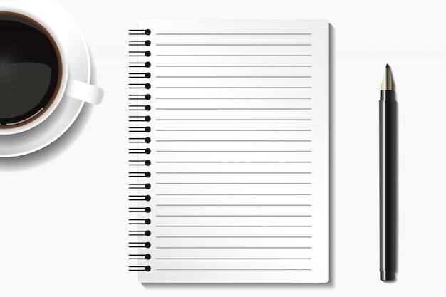 Vista superior do espaço de trabalho mínimo com café e caneta notebook