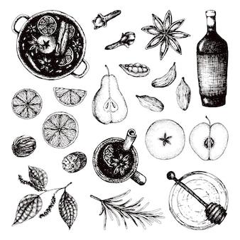 Vista superior do feliz natal com vinho quente conjunto bebida alcoólica quente e ingredientes para especiarias com vinho quente